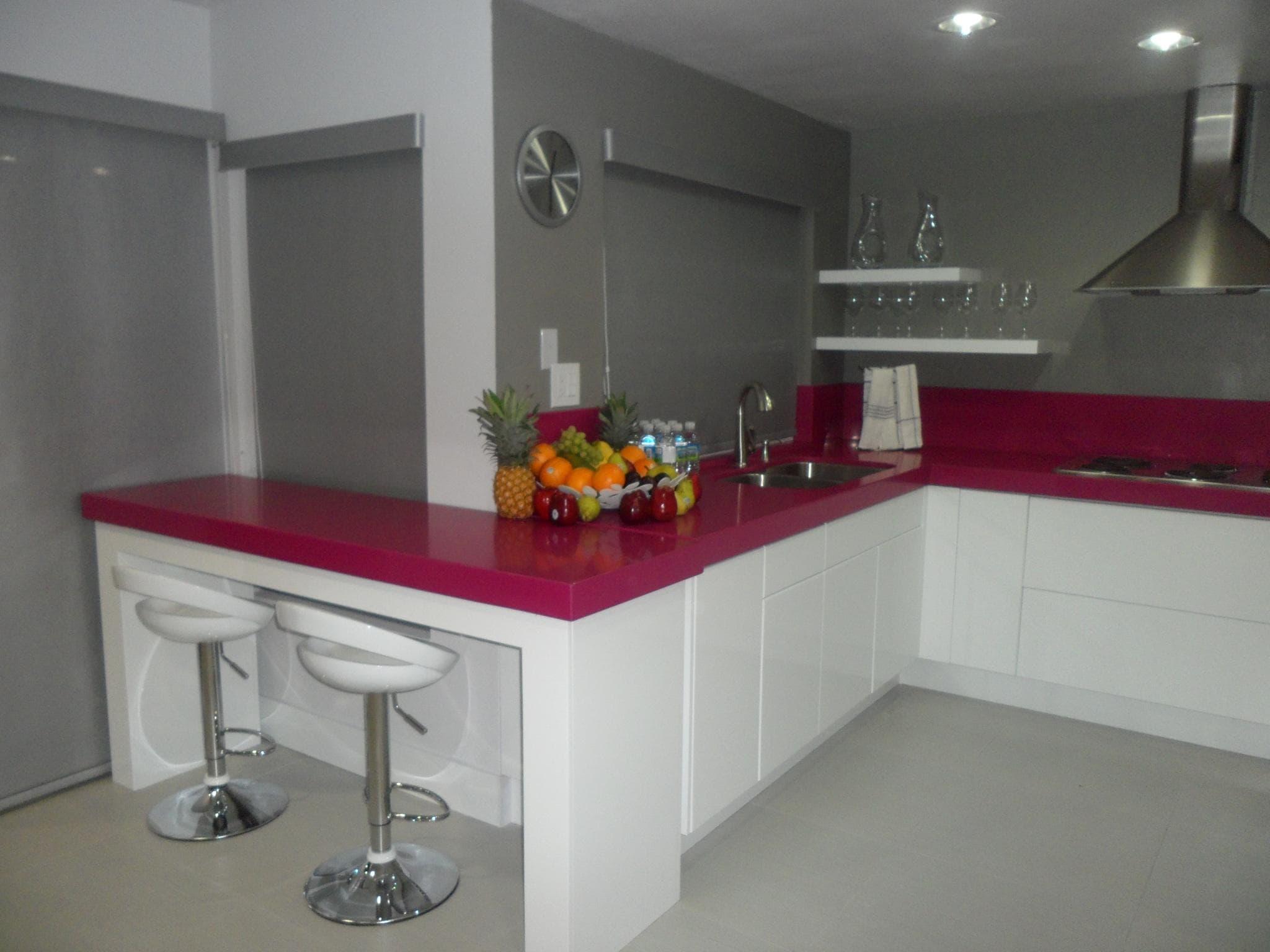 cocina integral con rosa